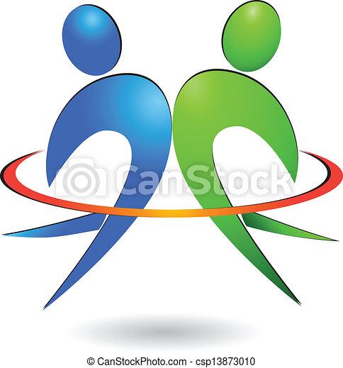 Gente feliz logo vector - csp13873010