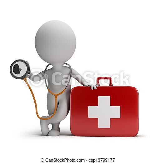 Tercera gente, estetoscopio y kit médico - csp13799177