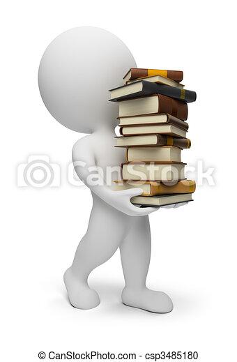 3 personas pequeñas, llevando libros - csp3485180