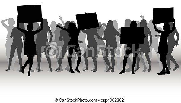 Protesta la silueta de la multitud. - csp40023021