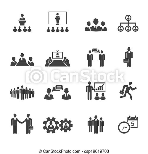 Gente de negocios reuniones y iconos de conferencias - csp19619703
