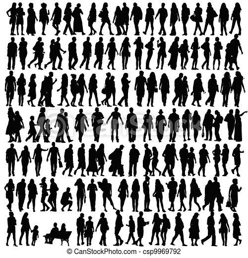 Gente silueta vector negro - csp9969792