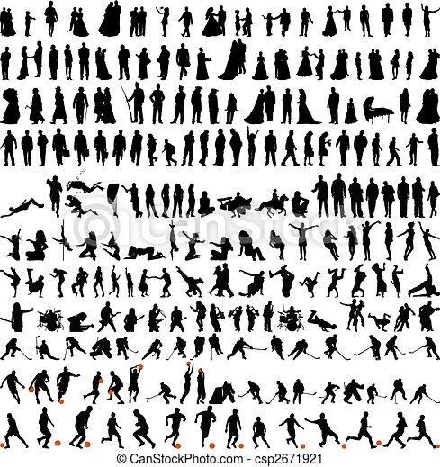 La mayor colección de personas siluetas - csp2671921