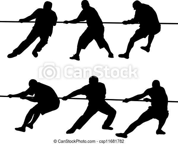 Gente tirando de la cuerda - csp11681782