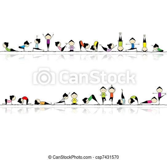 Personas que practican yoga, sin manchas para tu diseño - csp7431570