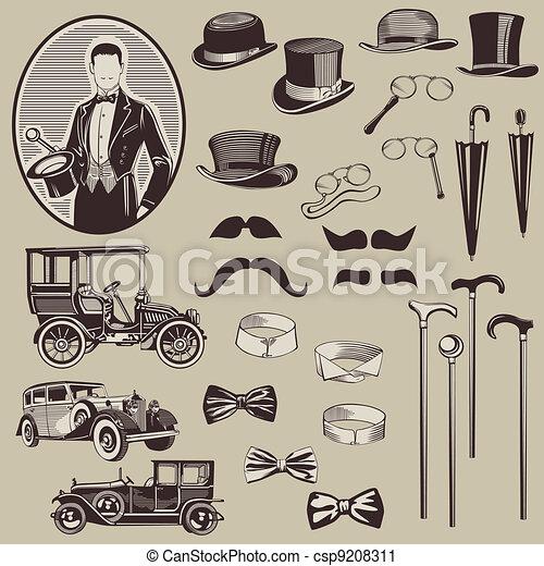 Los accesorios de los caballeros y los coches viejos - el vector establecido - alta calidad - csp9208311