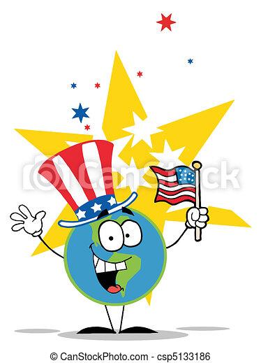 Globo con sombrero patriótico americano - csp5133186