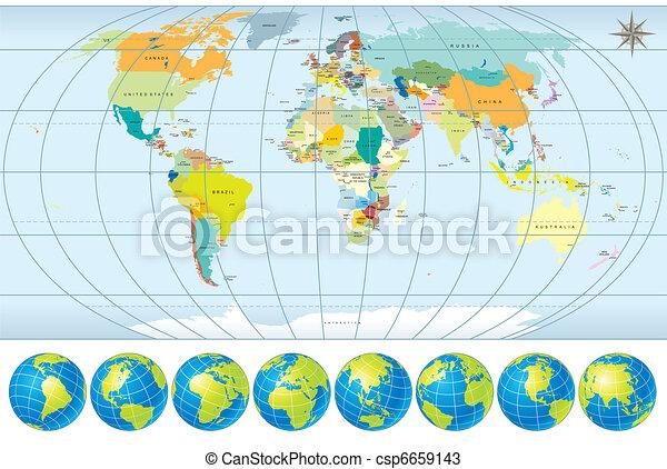 Mapa mundial con globos - csp6659143