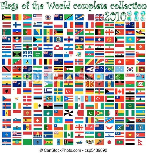 Banderas del mundo y globos terrestres - csp5439692