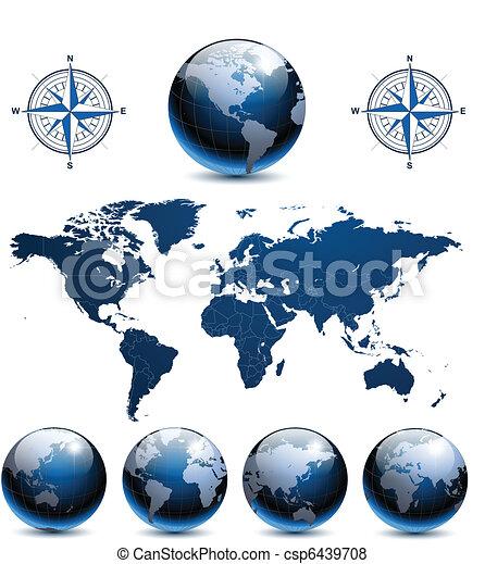 Globos terrestres con mapa mundial - csp6439708