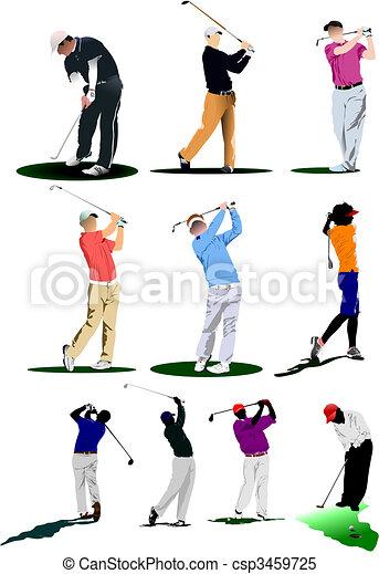 Jugadores de golf. Ilustración del vector - csp3459725