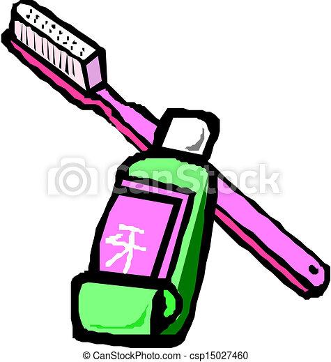 Cepillo dental con pasta de dientes - csp15027460