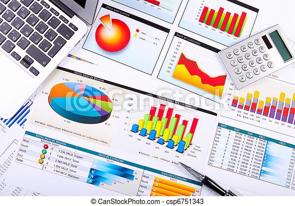 gráficos, gráficos, mesa de negocios. - csp6751343
