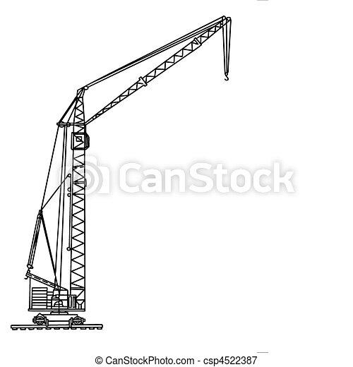 Vector silueta grulla de fondo blanco - csp4522387