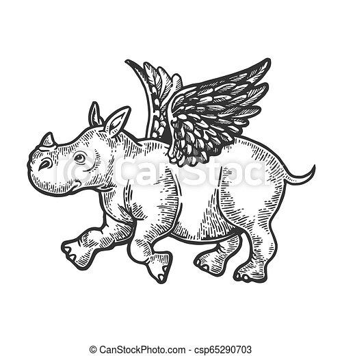 Un pequeño rinoceronte volador de ángel que graba ilustraciones vectoriales. Imitación estilo tabla rascar. Imágenes en blanco y negro. - csp65290703