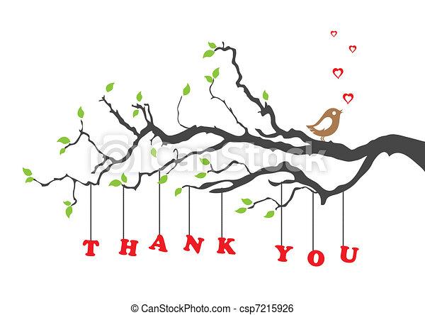 Gracias tarjeta de felicitación con pájaro - csp7215926