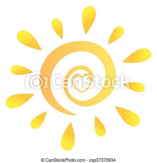Sol abstracto con corazón en gradiente - csp37370934