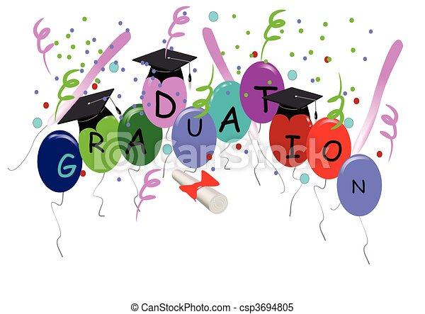 Graduación con globos en blanco - csp3694805