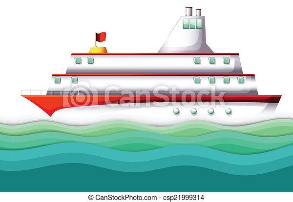 Un gran barco en el océano - csp21999314