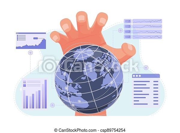 grande, sobre, mundo, económico, finanzas, controlador, mano - csp89754254
