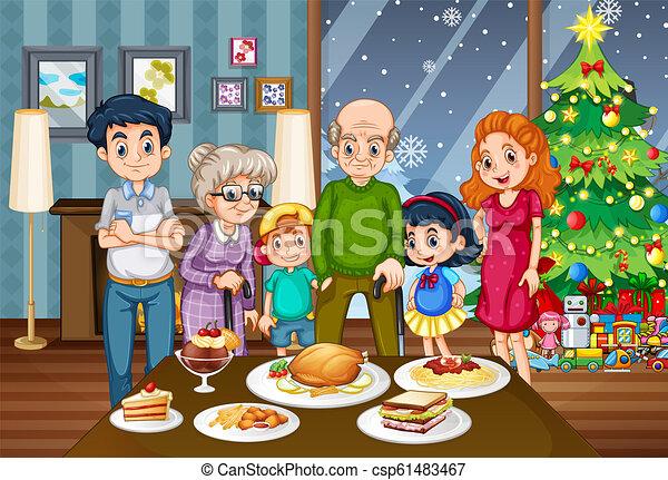 Una gran familia en la mesa del comedor - csp61483467