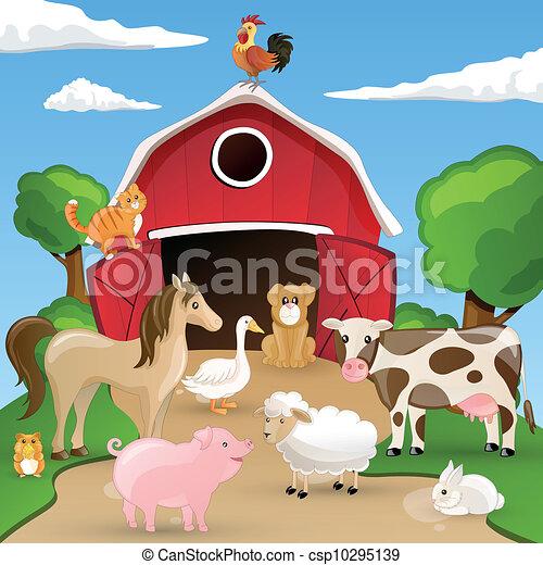 Granja de vectores con animales - csp10295139