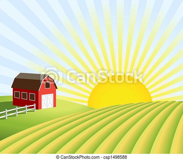 Granja y campos al amanecer - csp1498588