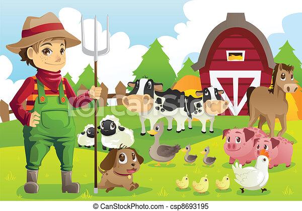 Granjero en la granja con animales - csp8693195
