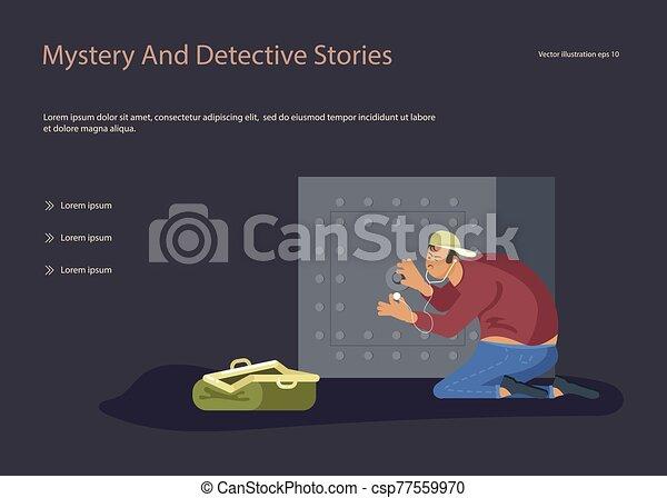 grieta, tries, ladrón, seguro - csp77559970