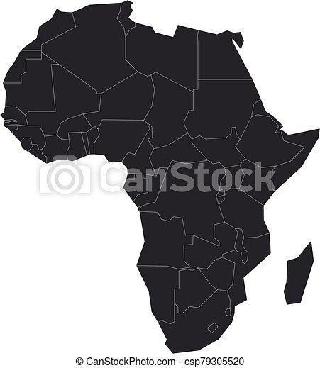 gris, blanco, mapa, vector, político, áfrica., ilustración - csp79305520