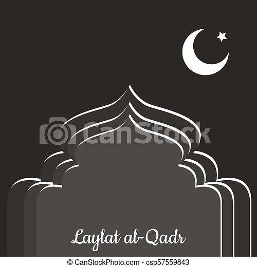 Laylat al-Qadr. Fiesta de religión islámica. Silueta simbólica de la mezquita. De colores grises. Luna y estrella. Estilo de papel - csp57559843