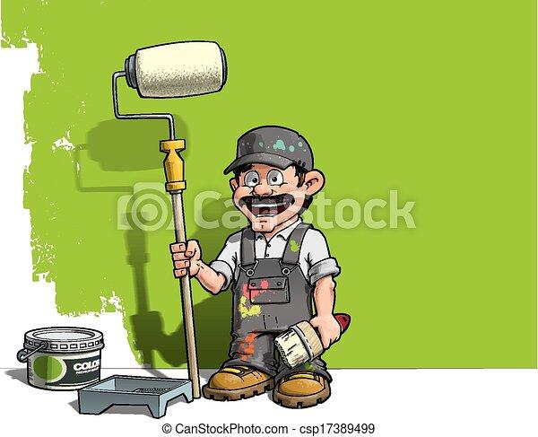 Handyman, pintor de paredes uniforme gris - csp17389499