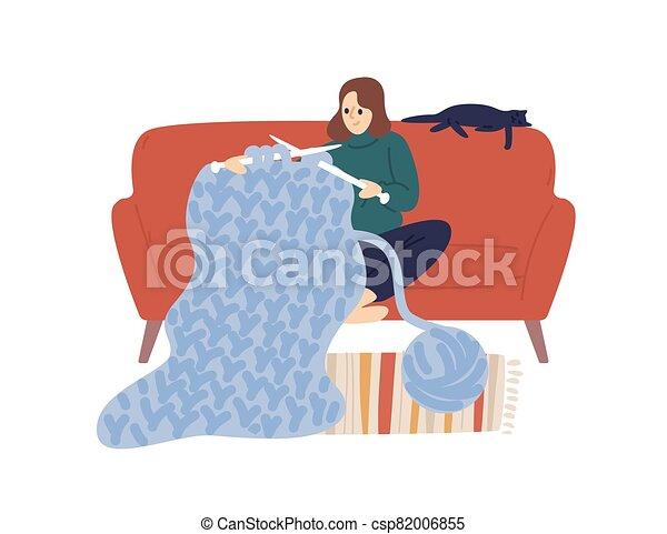 grueso, asimiento, sentarse, hilo, pasatiempo, white., cómodo, vector, aislado, tejido de punto, tejer, el gozar, clew, merino, uso, plano, mujer, creativo, doméstico, illustration., dama, lana, hechaa mano, alegre, hembra, sofá, agujas - csp82006855