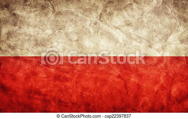 La bandera de Polonia grunge. Un objeto de mi colección de banderas retro - csp22397837