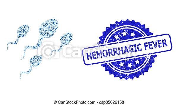 grunge, hemorrhagic, esperma, icono, células, sello, recursion, collage, fiebre - csp85026158