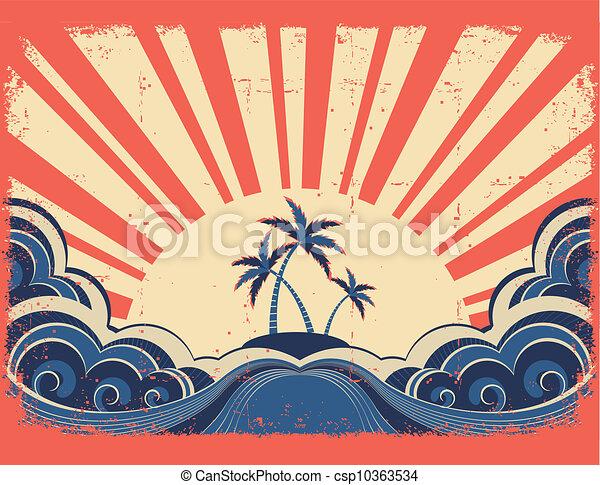 La isla del paraíso en el fondo de papel grunge con el sol - csp10363534