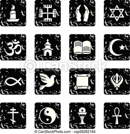 Los iconos religiosos establecen vector grunge - csp56282184