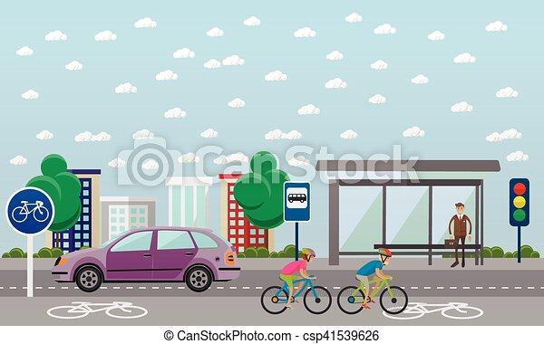 Grupo de ciclistas en bicicleta. Calle con línea de bicicleta. Ilustración de vectores en diseño plano. - csp41539626