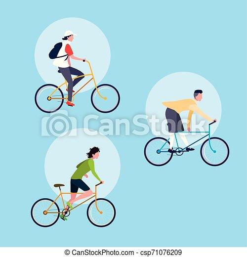 Grupo de jóvenes montando en bicicleta personaje avatar - csp71076209