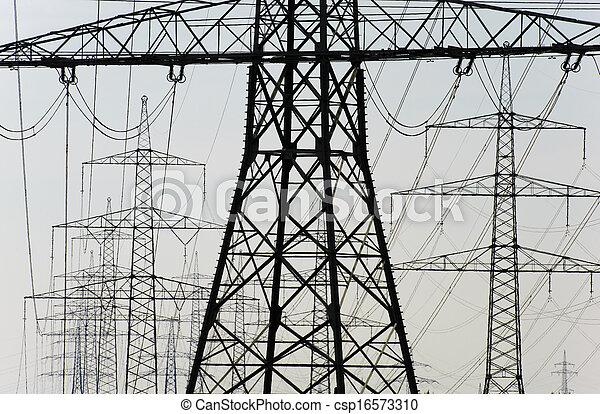 Grupo de postes eléctricos - csp16573310