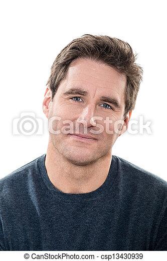 Mature, guapo, ojos azules, retrato sonriente - csp13430939