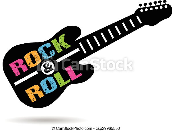 Logo de la guitarra Rock and Roll - csp29965550