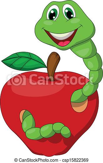 Gusano de cartón con manzana roja - csp15822369