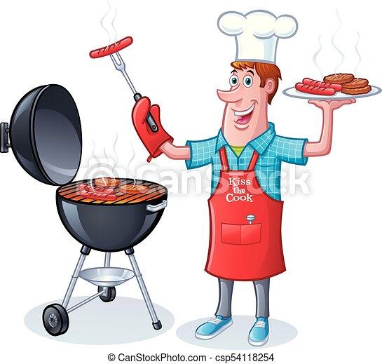 Guy bbqing hamburguesas hot dogs - csp54118254