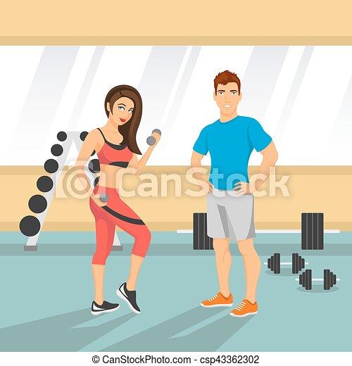 Ilustración de vectores de una pareja en forma en un gimnasio. - csp43362302