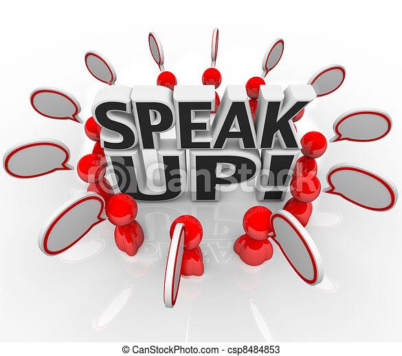 Habla con la gente de burbujas hablando en grupo - csp8484853
