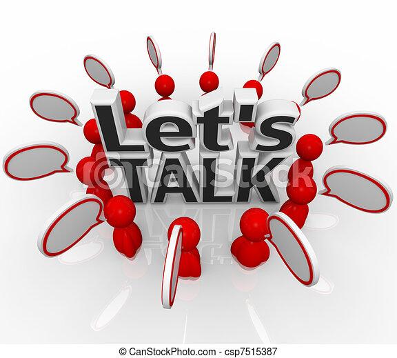 Hablemos de la gente en círculos. Discutámoslo en nubes de habla - csp7515387
