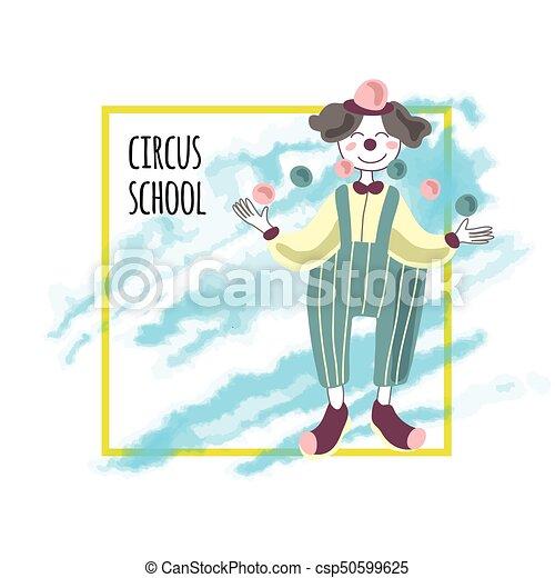 Un Cartel De Circo Un Payaso Hace Malabares Ilustración De Vectores Aislada En Blanco Un Cartel De Circo Un Payaso Hace Canstock