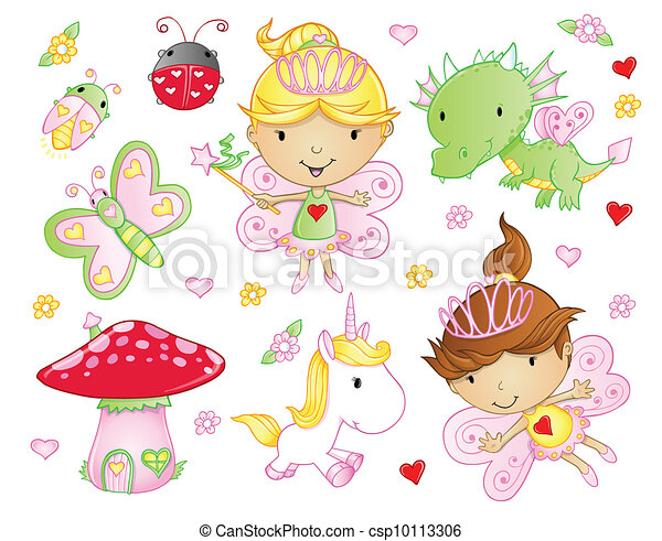 Hada princesa, flores de animal - csp10113306