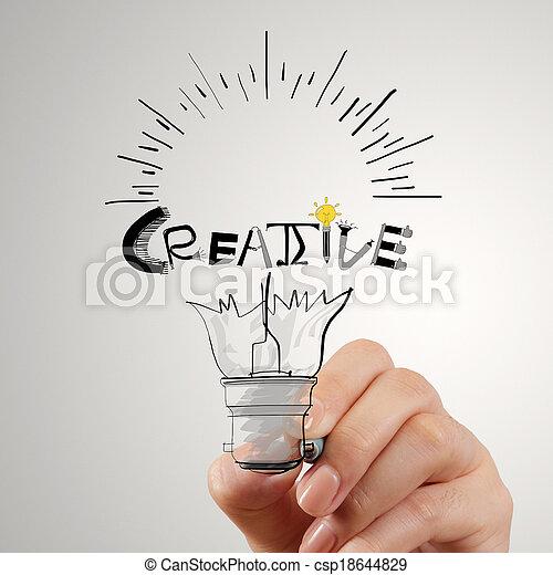 Hannd dibujando bombilla y diseño de palabras CREATIVE como concepto - csp18644829